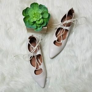 H&M Cross Tie Off White Pointy Ballet Flats US 6